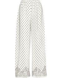Rosamosario - Chaplin'S Love Story Lace-Trimmed Printed Silk-Crepe Pajama Pants - Lyst