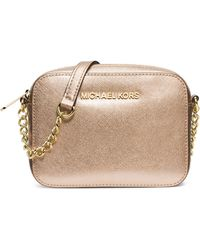 Michael by Michael Kors Jet Set Metallic Leather Travel Crossbody Bag - Lyst