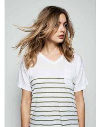 Zoe Karssen | Stripe Loose Fit V-neck Tee In Optical White/loden Green | Lyst
