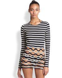 Jean Paul Gaultier Striped Cutout Knit Top - Lyst