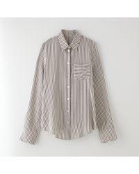 Band Of Outsiders Striped Silk Crepe Shirt - Lyst