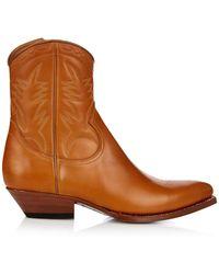 Saint Laurent - Santiag Western Ankle Boots - Lyst