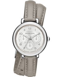 Michael Kors Kohen Stainless Steel & Leather Chronograph Double-Wrap Watch silver - Lyst