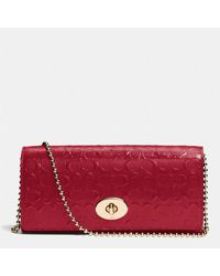 Coach Slim Envelope On Chain in Logo Embossed Patent Leather - Lyst