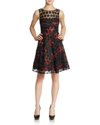 Betsey Johnson Floral Dot Illusion Cocktail Dress - Lyst