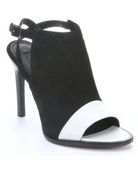 Rachel Zoe Black and White Leather Lacey Slingback Mules - Lyst