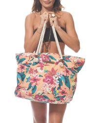 Rip Curl - 'paradiso' Tropical Print Beach Bag - Lyst