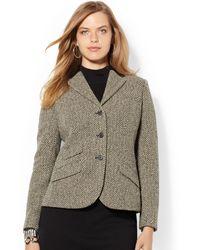 Lauren by Ralph Lauren Plus Size Leather-trim Houndstooth Blazer - Lyst