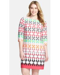 Eliza J Elbow Sleeve Shift Dress multicolor - Lyst