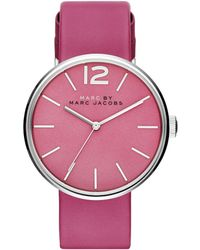 Marc By Marc Jacobs Peggy Stainless Steel & Leather Strap Watch/Pink pink - Lyst