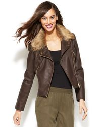 Inc International Concepts Faux-fur-collar Faux-leather Jacket - Lyst