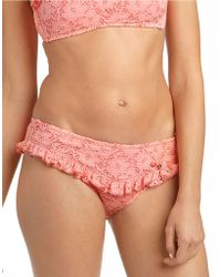 Betsey Johnson - Lace And Ruffle Hipster Swim Bottoms - Lyst