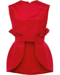 Natasha Zinko Red Twill Peplum Top - Lyst