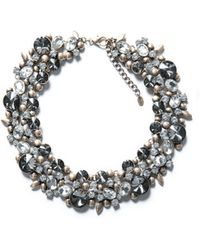Zara Necklace with Flowers and Strass - Lyst