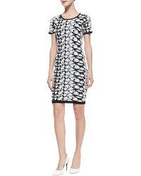 Nicole Miller Artelier Shortsleeve Floralprint Dress - Lyst