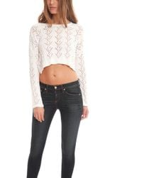Blue & Cream - Shell Stitch Crop Top - Lyst