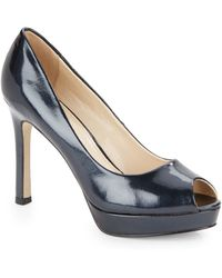 Ak Anne Klein Serafina Crackle-Leather Peep-Toe Pumps blue - Lyst