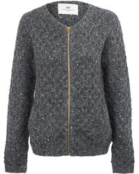 Day Birger Et Mikkelsen Charcoal Stitch Sequin Diamond Knit Cardigan - Lyst