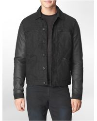 Calvin Klein Slim Fit Coated Cotton Stretch Trucker Jacket - Lyst