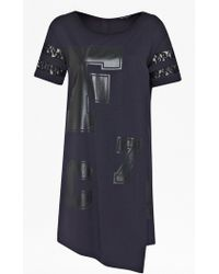 French Connection F 72 Asymmetric T-Shirt Dress blue - Lyst