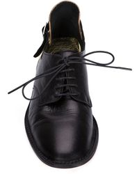 Yohji Yamamoto - Metallic-Heel Lace-Up Leather Shoes - Lyst