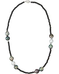 Belpearl Tahitian Pearl & Black Spinel Necklace - Lyst