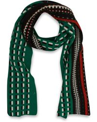 Quinton-chadwick - Green Brick And Track Wool Scarf - Lyst