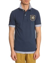 Tommy Hilfiger Blue Optical Illusion Polo - Lyst