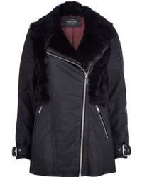 River Island Black Faux Fur Panel Biker Coat - Lyst