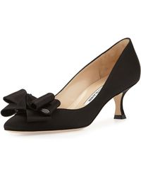 Manolo Blahnik Lisane Satin Bow Kitten Heel Pump - Lyst