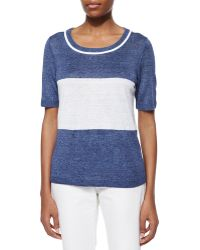 Lafayette 148 New York Short-Sleeve Colorblock Sweater - Lyst