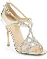 Ivanka Trump Itherly Metallic Leather Glitter Sandals - Lyst