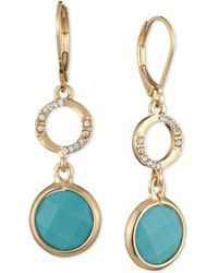 Anne Klein - Gold-tone Stone And Pavé Double Drop Earrings - Lyst