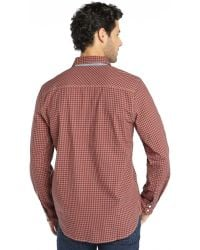 3rd & Army - Orange Gingham Cotton 'yonder' Long Sleeve Shirt - Lyst