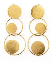 Herve Van Der Straeten - Hammered Gold Circle Drop Earrings - Lyst
