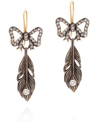 Queensbee - Bow And Feather Earring - Lyst