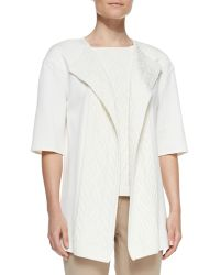 St. John Collection Shortsleeve Cable Knit Cardigan - Lyst