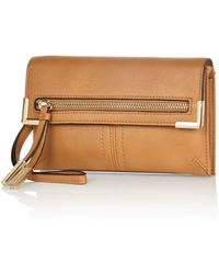 River Island Tan Fold Over Zip Purse - Lyst