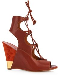 Chloé - Eliza Leather And Suede Wedge Sandals - Lyst