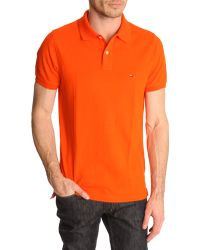 Tommy Hilfiger Slim Fit Orange Polo Shirt Contrasting Collar - Lyst