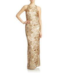 Badgley Mischka Floral Sequin Gown - Lyst