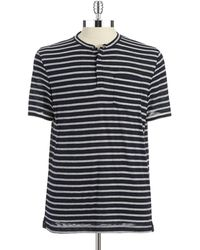 Kenneth Cole Striped Henley Shirt - Lyst