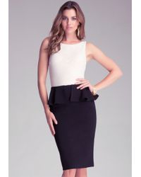 Bebe Peplum Midi Dress - Lyst