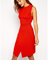 Asos Wrap Dress In Structured Knit With Cut Out Detail - Lyst