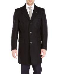 Vince Camuto Black Wool Top Coat - Lyst