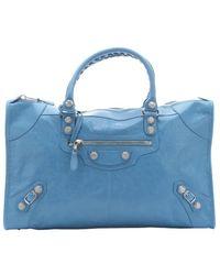 Balenciaga Indigo Blue Lambskin 'Giant Work' Tote Bag blue - Lyst