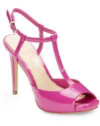 Jessica Simpson Jacci Faux Patent Leather Platform Sandals - Lyst