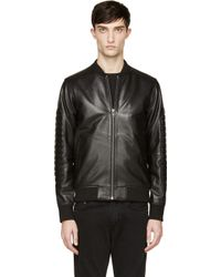 Surface To Air Black Nappa Leather 3d Bomber Jacket - Lyst