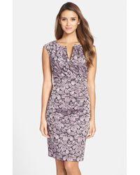 Adrianna Papell Women'S Metallic Floral Jacquard Sheath Dress - Lyst