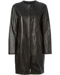 Jil Sander Leather Zip-up Coat - Lyst